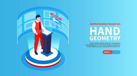 Isometric biometric identification horizontal banner with button text and male human character scanning his hand fingerprints vector illustration