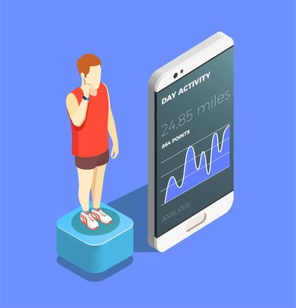 Wearable technology mobile app isometric composition with man checking his day activity on smartphone screen vector illustration Ilustracja