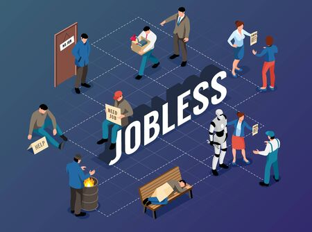 Jobless isometric flowchart with tramp sleeping on bench fired and unemployed begging people  vector illustration