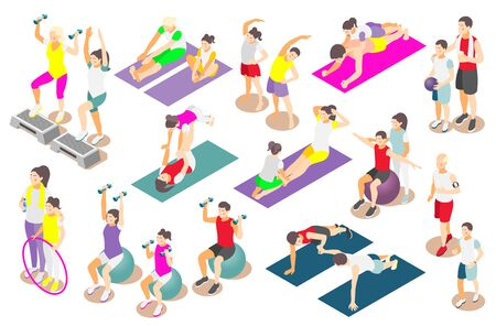 Family fitness isometric icons set of adult and rid persons performing physical exercises together isolated vector illustration Illustration