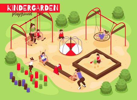 Isometric playground kindergarten composition with outdoor view of playing babies and kids with trees and bushes vector illustration
