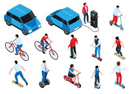 Eco transport isometric set of people on bike eco scooter gyro skateboard longboard isolated vector illustration