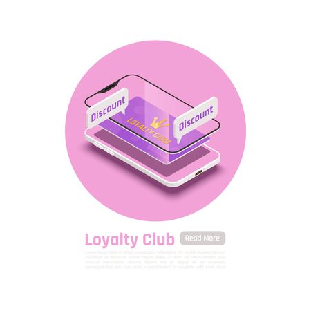 Customer loyalty retention isometric background with images of smartphone layer frames text and read more button vector illustration Archivio Fotografico - 129249831