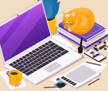 Work place isometric background with laptop tablet mobile phone and tools for making photo 3d vector illustration
