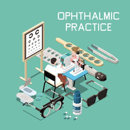 Ophthalmology isometric composition with different instruments and doctor at work 3d vector illustration