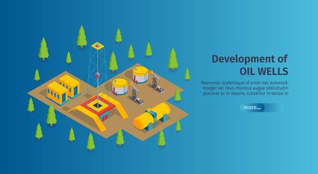 Isometric petroleum industry horizontal banner with editable text more button and images of oil derricks pumps vector illustration