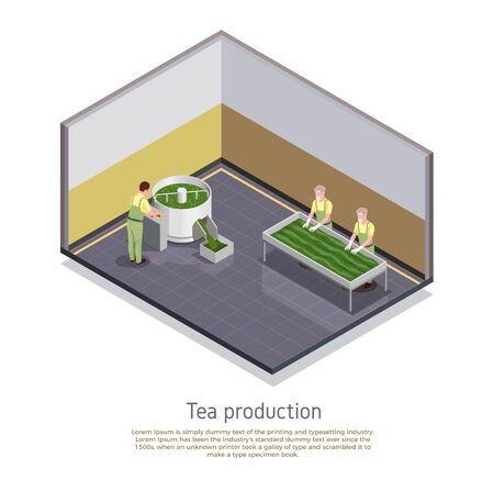 Industrial tea production facility element isometric composition with rolling sorting and withering manufacturing process steps vector illustration