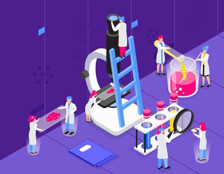 Chemistry isometric composition with indoor scenery and small people characters with microscope and transparent glass tubes vector illustration Çizim