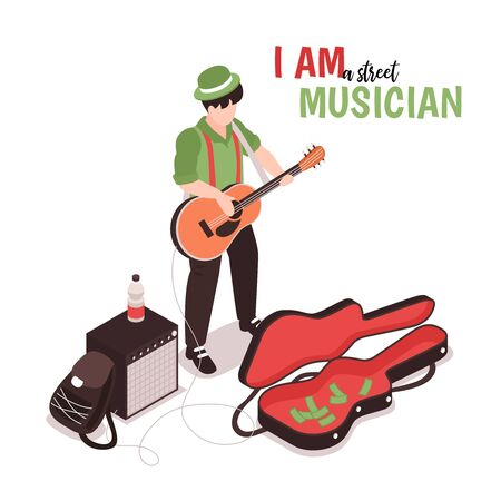 Isometric street musician background with text and male doodle character of street performer with acoustic guitar vector illustration Ilustracja