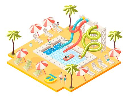 Aquapark isometric concept with entertainment sunbathing and swimming symbols