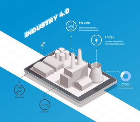 Smart industry isometric composition with factory building 3d vector illustration