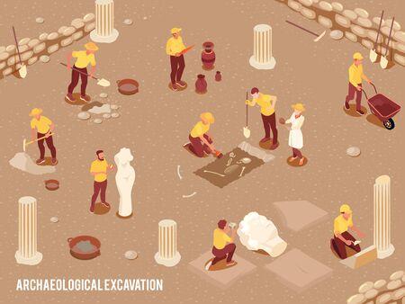 Fond isométrique d'archéologie avec des fouilles archéologiques d'artefacts anciens processus illustration vectorielle 3d
