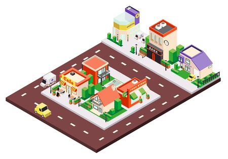 Isometric city buildings composition with colourful municipal and private houses with signs and cars on street vector illustration Standard-Bild - 129249875