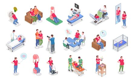 Pregnancy isometric icons set with pregnant women consulting doctor doing fitness and parents caring for baby isolated on white background 3d vector illustration