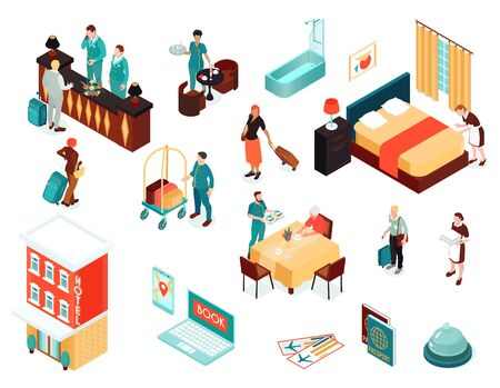 Hotel isometric icons set of passports air tickets booking service receptionist concierge maid vector illustration