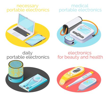 Portable electronics 2x2 design concept demonstrated necessary daily gadgets using for home work beauty and health isometric vector illustration