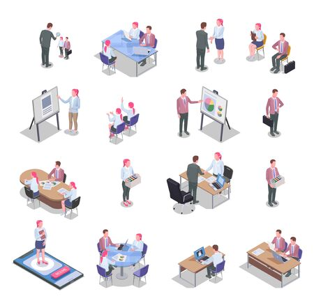 Recruiting isometric icons set with job candidates communicating with recruiters isolated on white background 3d vector illustration Illustration