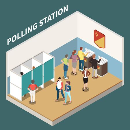 Polling station isometric background with voting booth and electorate participating in voting process vector illustration 일러스트