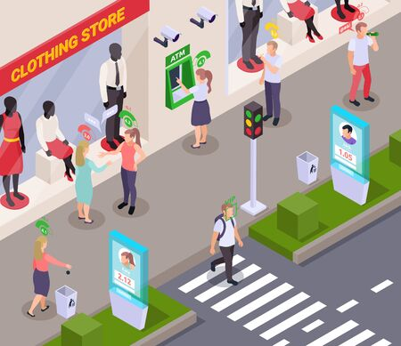 People with social credit score pictograms above their heads in street near clothing store isometric composition 3d vector illustration