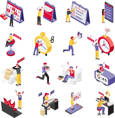 Set of sixteen isolated deadline isometric icons with compositions of human characters and personal organizer items vector illustration
