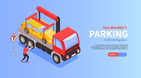 Isometric car parking horizontal banner with view of wrongly parked car evacuation