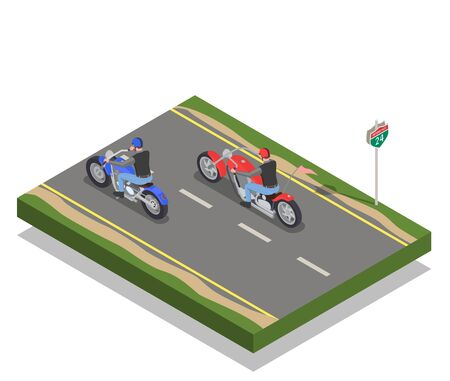 Two men bikers riding red and blue motorcycles isometric composition 3d vector illustration