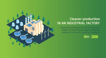 Isometric industrial plant factory horizontal banner with text and view of plant buildings sewage treatment units vector illustration