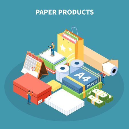 Paper products isometric design concept with  package box school supplies toilet paper rolls monetary denomination vector Illustration