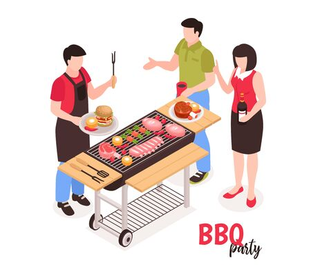 Isometric bbq barbecue composition with faceless human characters and outdoor grill on cart with meat burgers vector illustration 일러스트