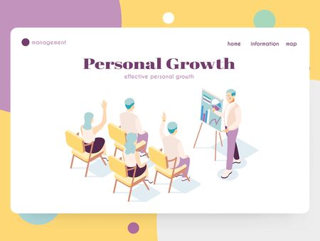 Isometric landing page with talk show host and guests 3d vector illustration Ilustrace