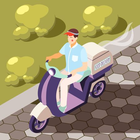 Catering in plane isometric background with motorbike courier vector illustration