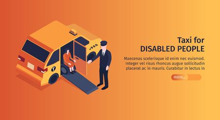 Isometric taxi horizontal banner with editable text more button and image of taxi passenger on wheelchair vector illustration Ilustracja