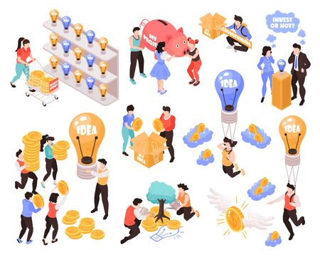 Crowdfunding isometric icons elements set with best ideas for investing money projects startups profit symbols vector illustration Ilustrace