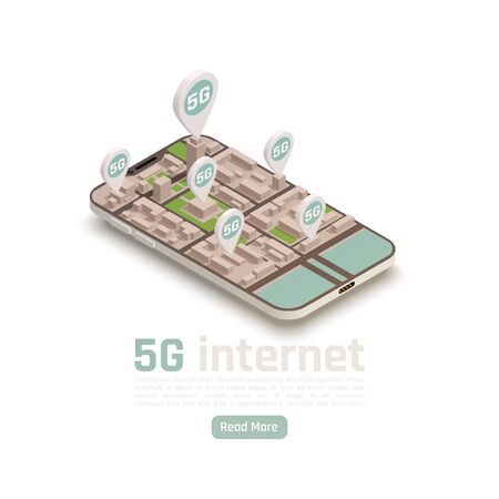 Modern internet 5g communication technology isometric composition with read more button editable text and location signs vector illustration Illustration