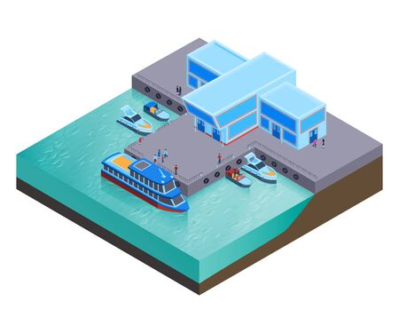 Isometric water transport composition with modern buildings of river station with boats at rest and people vector illustration Çizim
