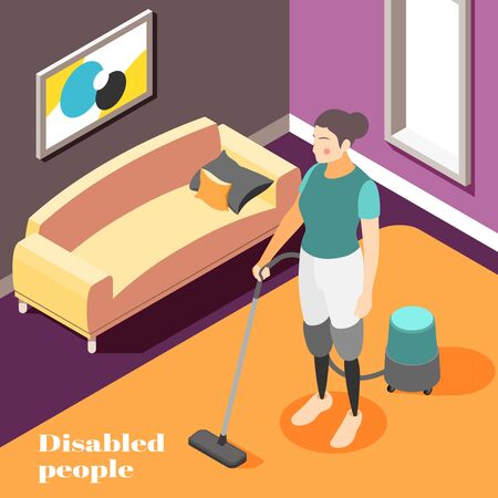 Disabled people household chores isometric composition with woman wearing prosthetic legs vacuum cleaning home background vector illustration