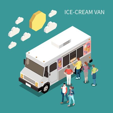 Ice cream van isometric background with people standing near food truck to buy sweet product vector illustration Иллюстрация