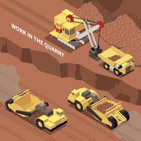 Mining machinery digging and removing rocks from quarry 3d isometric vector illustration