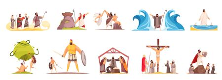 Bible narratives set of isolated doodle compositions with legendary characters and iconographic scenes on blank background vector illustration 일러스트