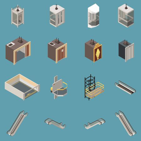 Isometric icons set with various lifts and escalators isolated on blue background 3d vector illustration 일러스트