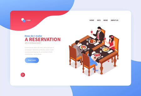 Isometric restaurant concept banner for web site landing page with clickable links buttons and editable text vector illustration