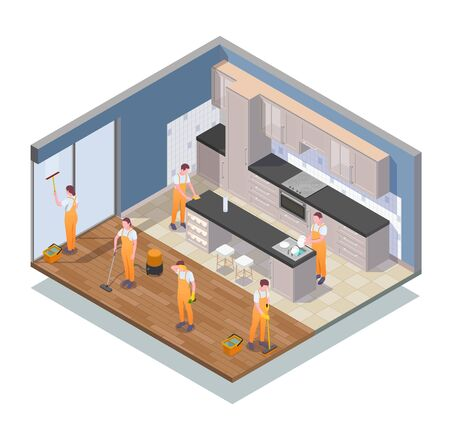 Isometric colored cleaning composition with cleaners work in apartment clean the kitchen vector illustration