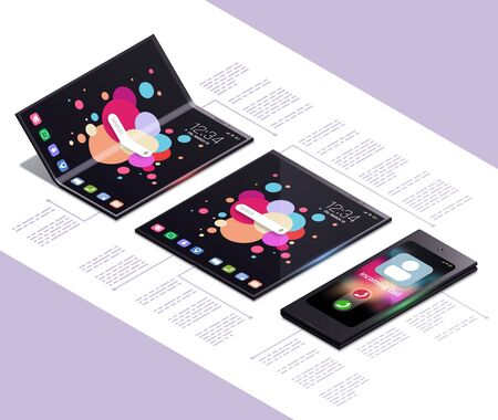 Foldable gadgets concept isometric mockup composition with next generation electronic touch screen smartphone models with text vector illustration