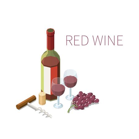 Isometric composition with bottle and two glasses of red whine bunch of grapes and corkscrew on white background