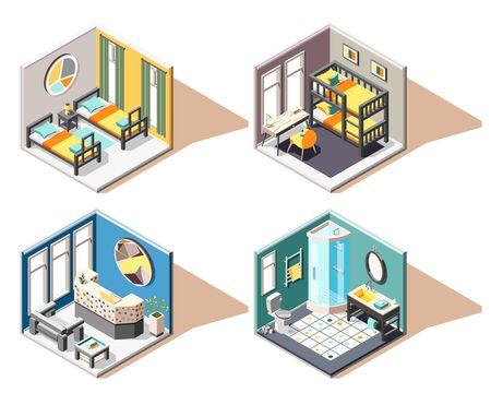 Hostel 2x2 design concept set of guest room bathroom reception isometric interiors vector illustration Ilustracja