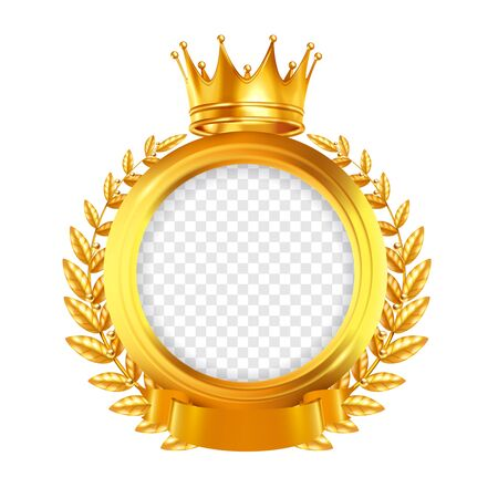 Gold round frame decorated by laurel wreath tape and crown realistic design concept on white background vector illustration