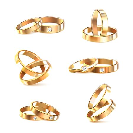 Six pare of golden elegant wedding rings decorated with with diamonds or zircons isolated on white background realistic vector Illustration