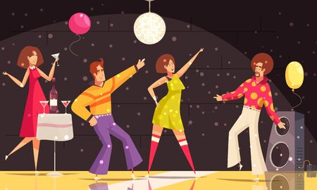 Disco party background with people dancing and drinking flat vector illustration