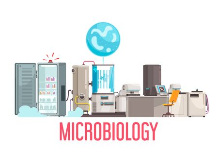 Microbiology background composition with text and life sciences laboratory equipment and electronic facilities on blank background vector illustration