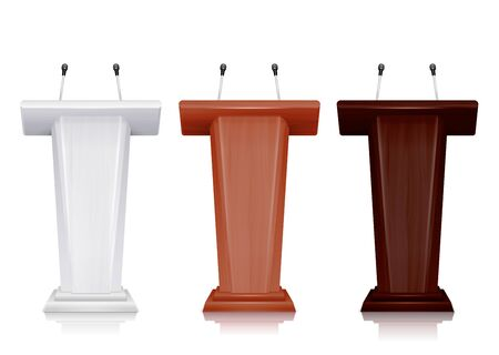 Realistic set of three colored tribunes with microphones for briefing conference or lecture isolated vector illustration